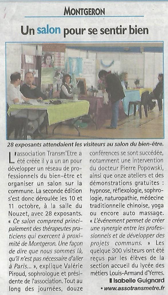 Un artcile sur le Salon Bien-être de Montgeron dans le journal Le Républicain Essonne